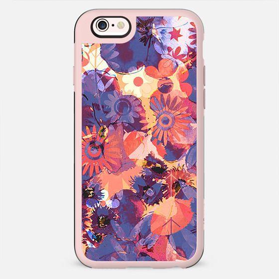 Blue orange watercolor flower petals - New Standard Case