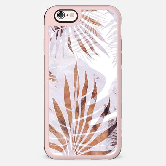 Pastel romantic palm and ficus leaves