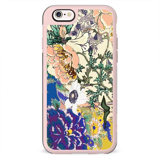 Brigh coloured flowers botanical illustration