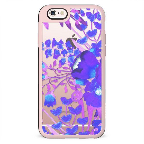 Watercolor flowers purple magenta delicate clear