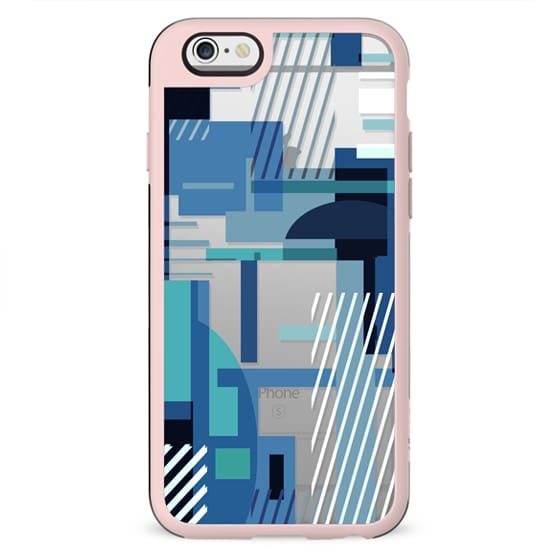 Modern geometric blue composition - clear case