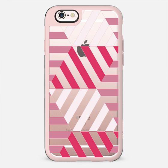 Fuchsia - white stripes clear case - New Standard Case