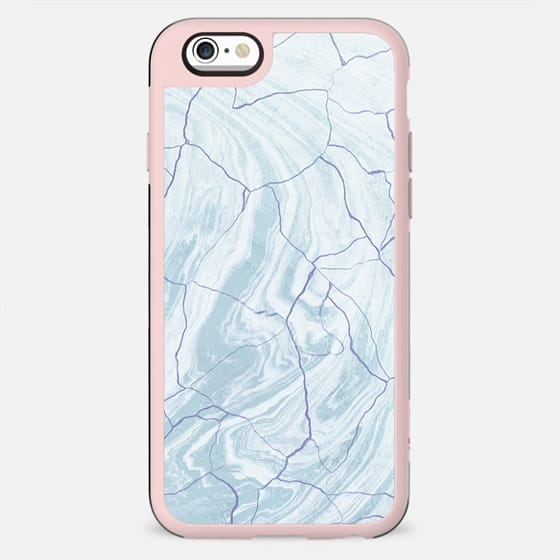 Soft blue cracked marble