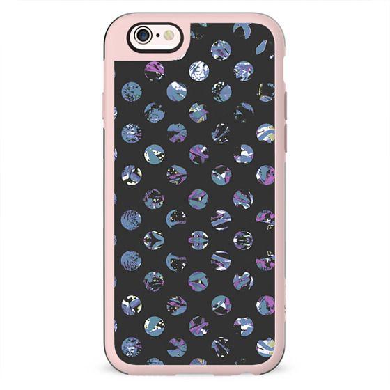 Blue purple abstract painted polka dots dark