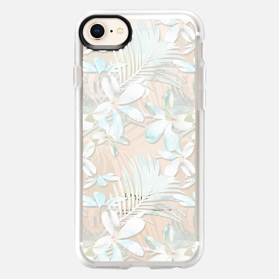 White Tropical flowers transparent - Snap Case