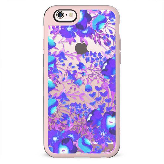 Watercolor flowers purple magenta clear