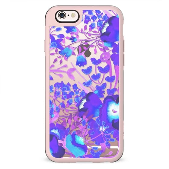 Watercolor flowers purple magenta clear case