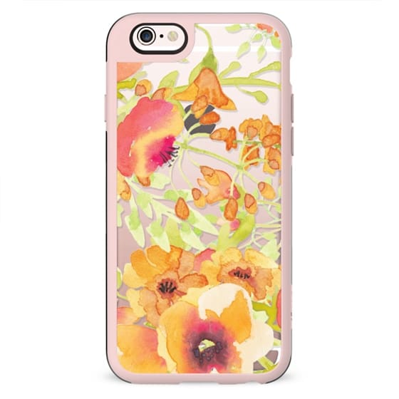 Orange watercolor flowers clear case