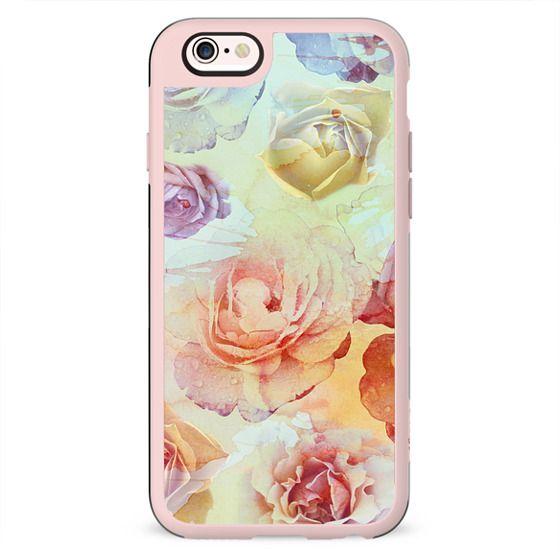 Pastel watercolor painted rose petals