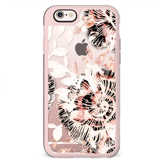 Pink watercolor flowers clear