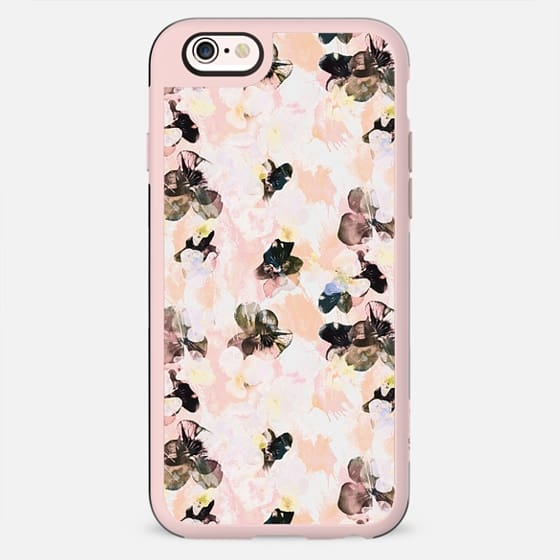 Black pink peach petals - pansy flowers