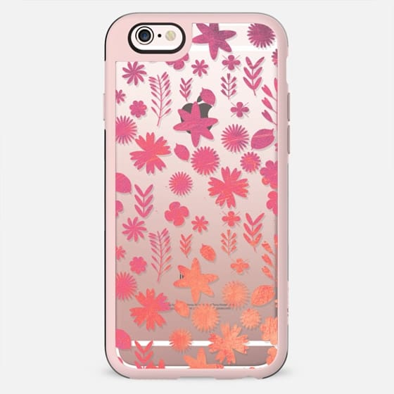 Pink orange metallic flower pattern clear - New Standard Case