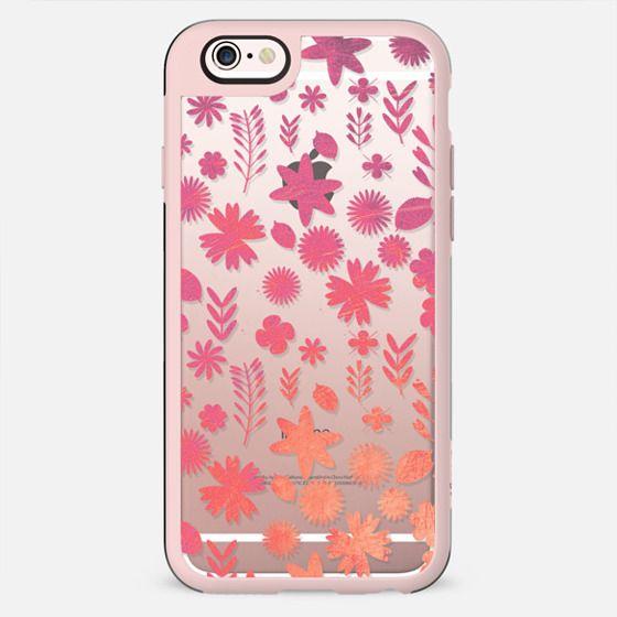 Pink orange metallic flower pattern clear case - New Standard Case