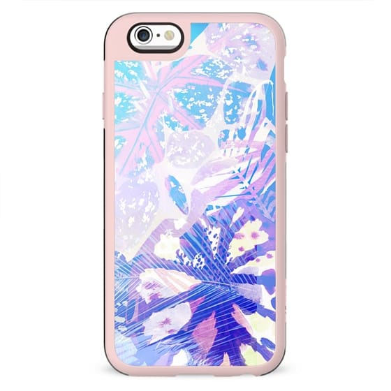 Stylised watercolor tropical palm and ficus leaves