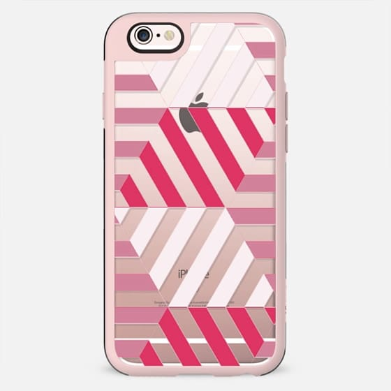 Fuchsia - white stripes clear case