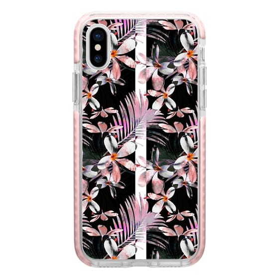 iPhone 7 Plus Cases - Pink tropical hibiscus flowers foliage and stripes
