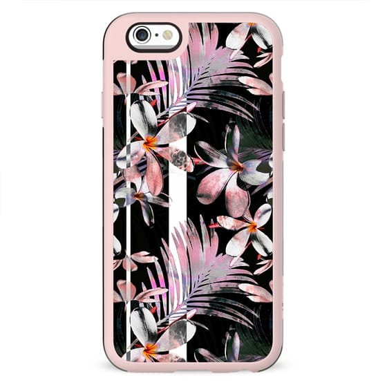 Tropical pink hibiscus and black stripes