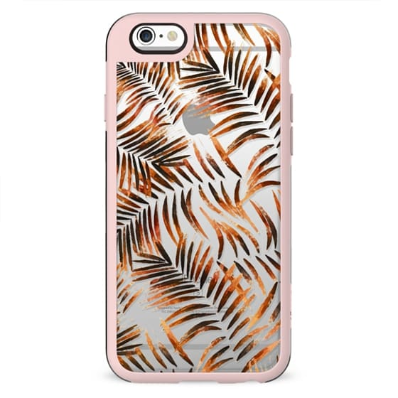 Golden metallic palm leaves clear case