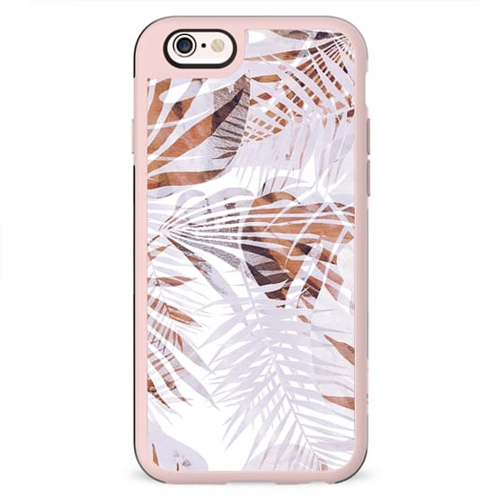 Pastel romantic tropical leaves