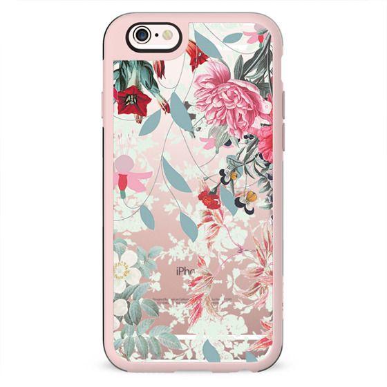Romantic floral botanical illustration clear pink