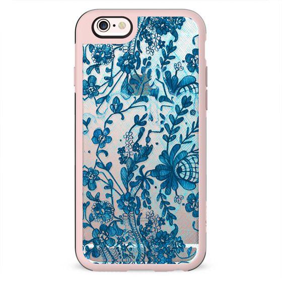 Blue flowers lace transparent 2