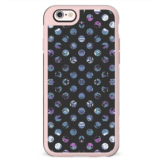Blue purple abstract painted polka dots