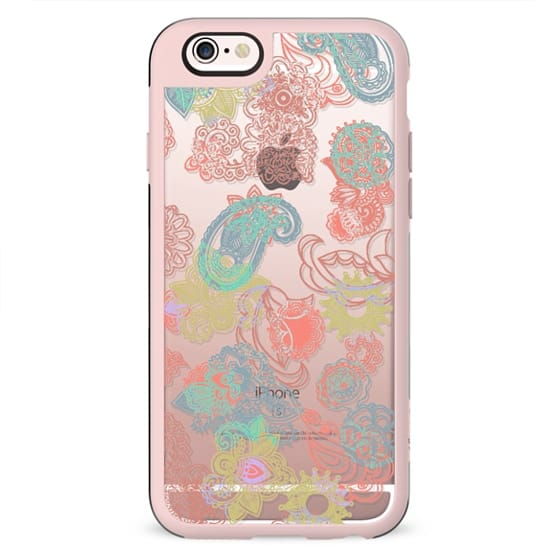 Colorful summer festival paisley clear