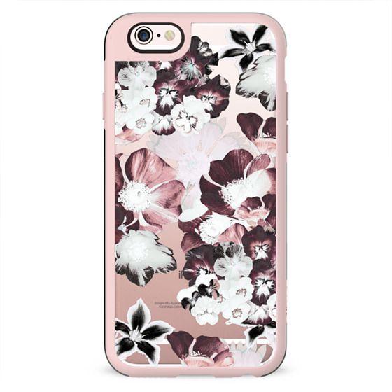 White burgundy flower petals clear