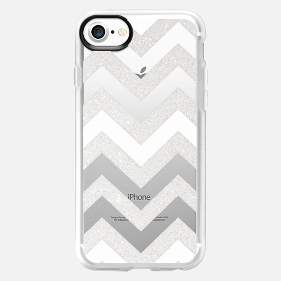SILVER CHEVRON & WHITE Crystal Clear Case for HTC One - Wallet Case