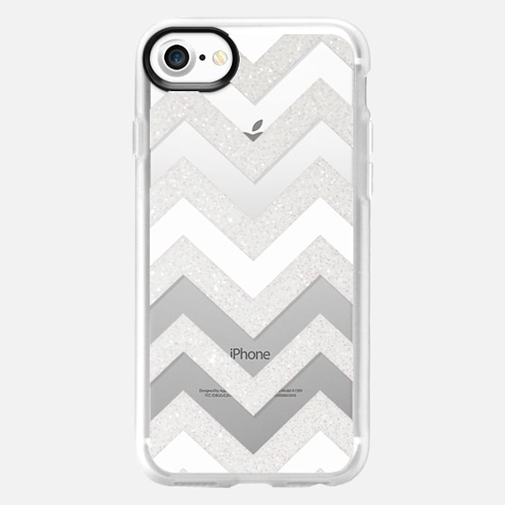 SILVER CHEVRON WHITE iPhone 6 plus Crystal Clear - Wallet Case