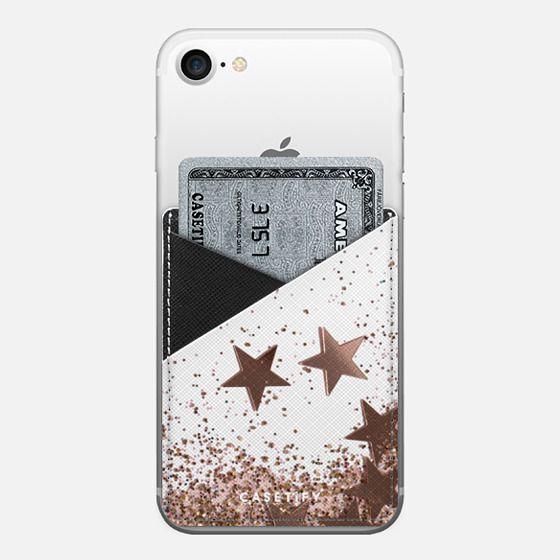 SHAKY STARS ROSEGOLD by Monika Strigel- - Saffiano Leather Phone Wallet