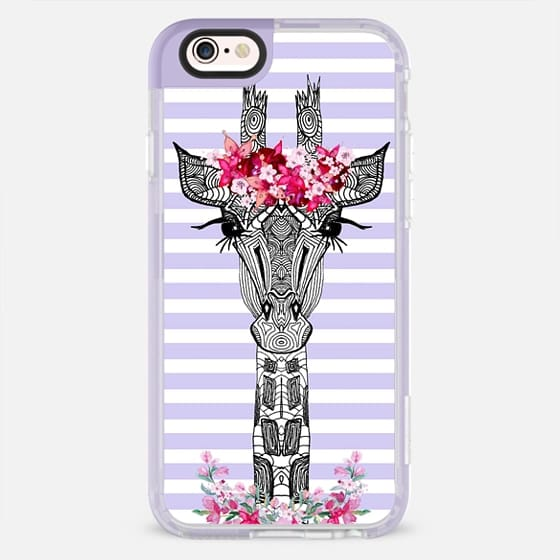 FLOWER GIRL GIRAFFE PURPLE STRIPES by Monika Strigel - New Standard Pastel Case