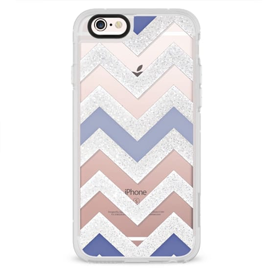 iPhone 6s Cases - SILVER CHEVRON 6 AND BLUE by Monika Strigel