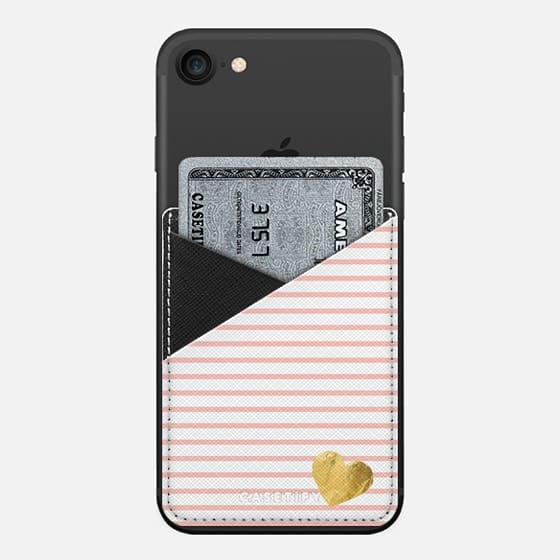 HEARTS & STRIPES CORAL by Monika Strigel- - Saffiano Leather Phone Wallet