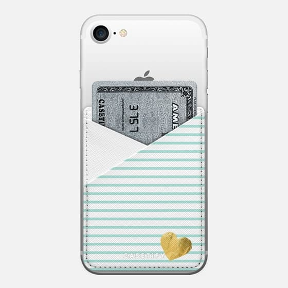 HEARTS & STRIPES MINT by Monika Strigel- - Saffiano Leather Phone Wallet