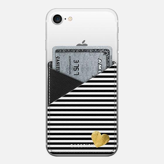 HEARTS & STRIPES BLACK by Monika Strigel- - Saffiano Leather Phone Wallet
