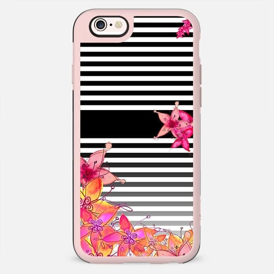 TROPICAL FLOWERS & STRIPES iphone5s - New Standard Case