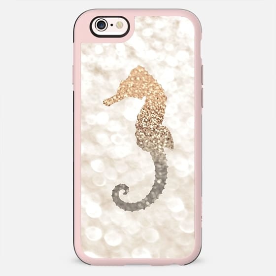 CHAMPAGNE SEAHORSE FAUX GLITTER by Monika Strigel - New Standard Case