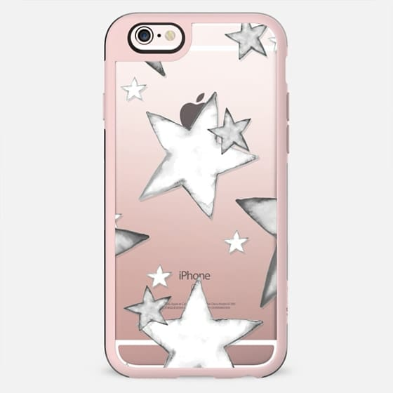 BLACK WATERCOLOR STARS transparent iphone case - New Standard Case