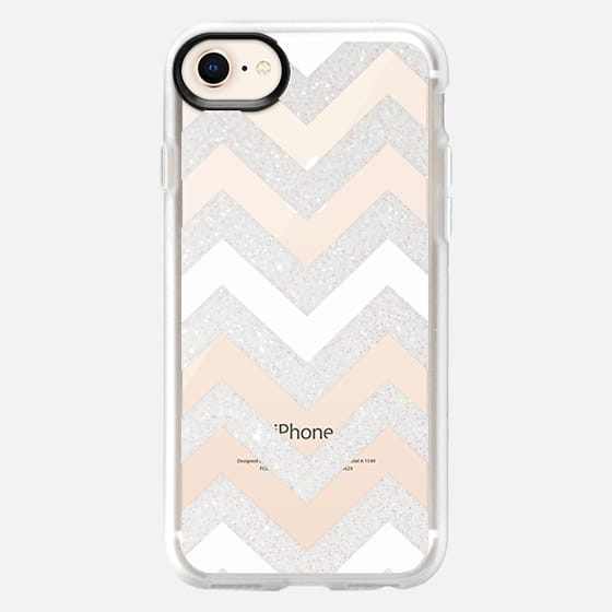 SILVER CHEVRON & WHITE Crystal Clear Case for HTC One - Snap Case