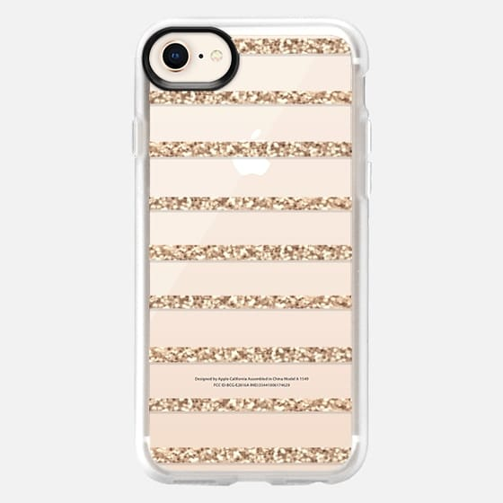 GATSBY GOLD GLITTER STRIPE PARTY Crystal Clear Transparent - Snap Case