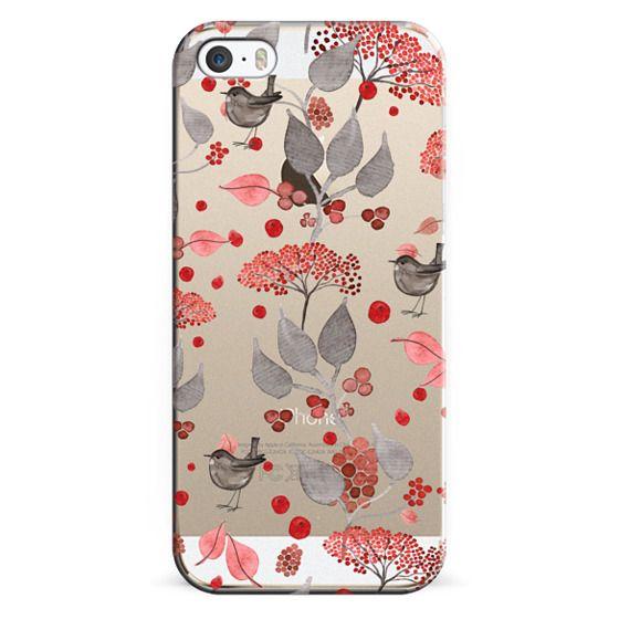 iPhone 6s Cases - BIRDIES & BERRIES on black iPhone 5 by Monika Strigel