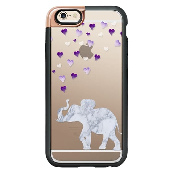 iPhone 6s Cases - MARBLE ELEPHANT & PURPLE HEARTS by Monika Strigel