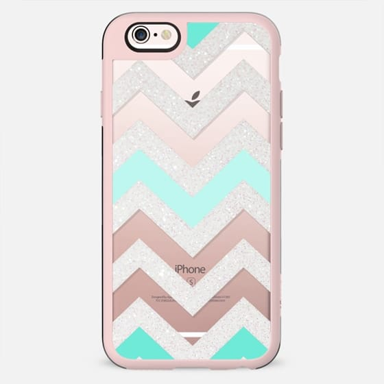 SILVER CHEVRON MINT Crystal Clear iphone case - New Standard Case