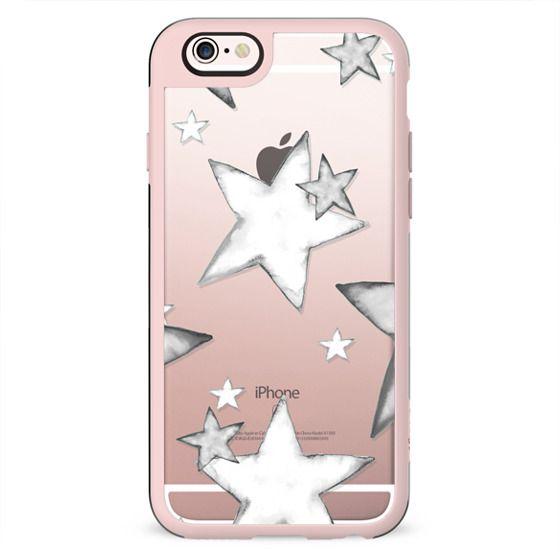 BLACK WATERCOLOR STARS transparent iphone case