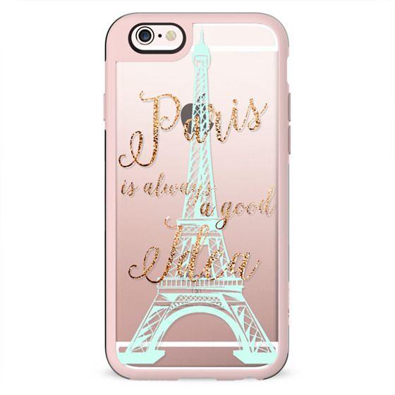 I LOVE PARIS iPhone 6 by Monika Strigel Crystal Clear Faux Glitter