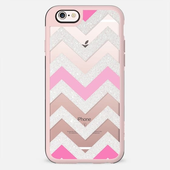 SILVER CHEVRON PINK  Crystal Clear iphone case - New Standard Case