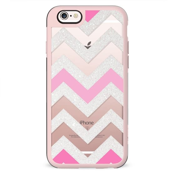 SILVER CHEVRON PINK  Crystal Clear iphone case