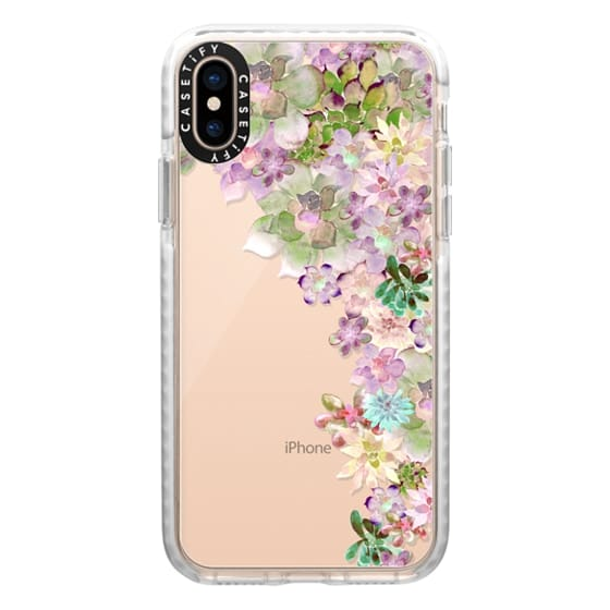 iPhone XS Cases - MY SUCCULENT GARDEN PEACH by Monika Strigel