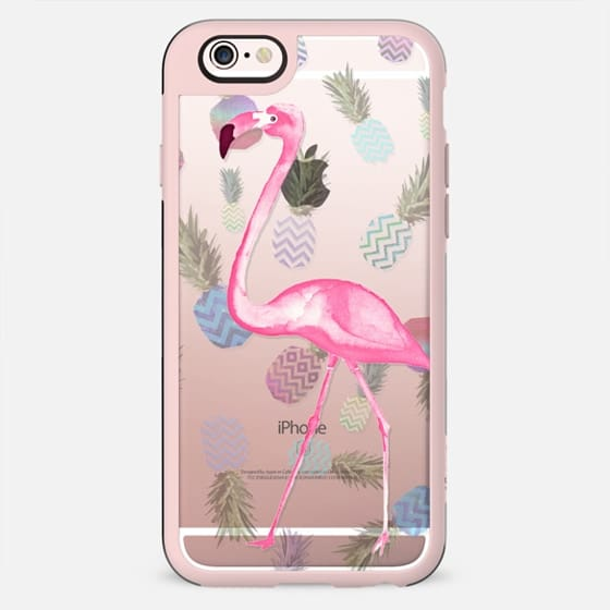 FLAMINGO & PINEAPPLE TIFFANY MINT transparent iphone case